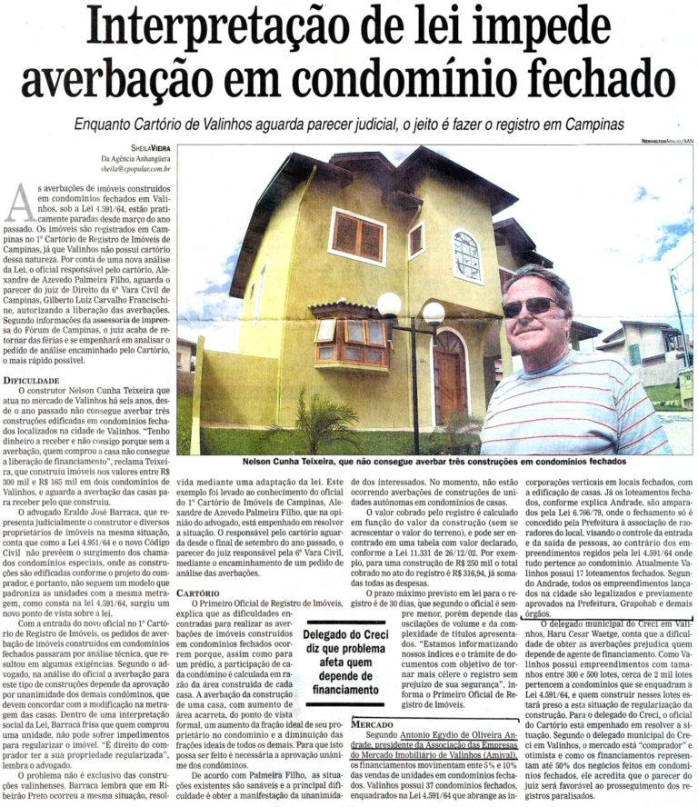 Interpretação de lei impede averbação em condomínio fechado