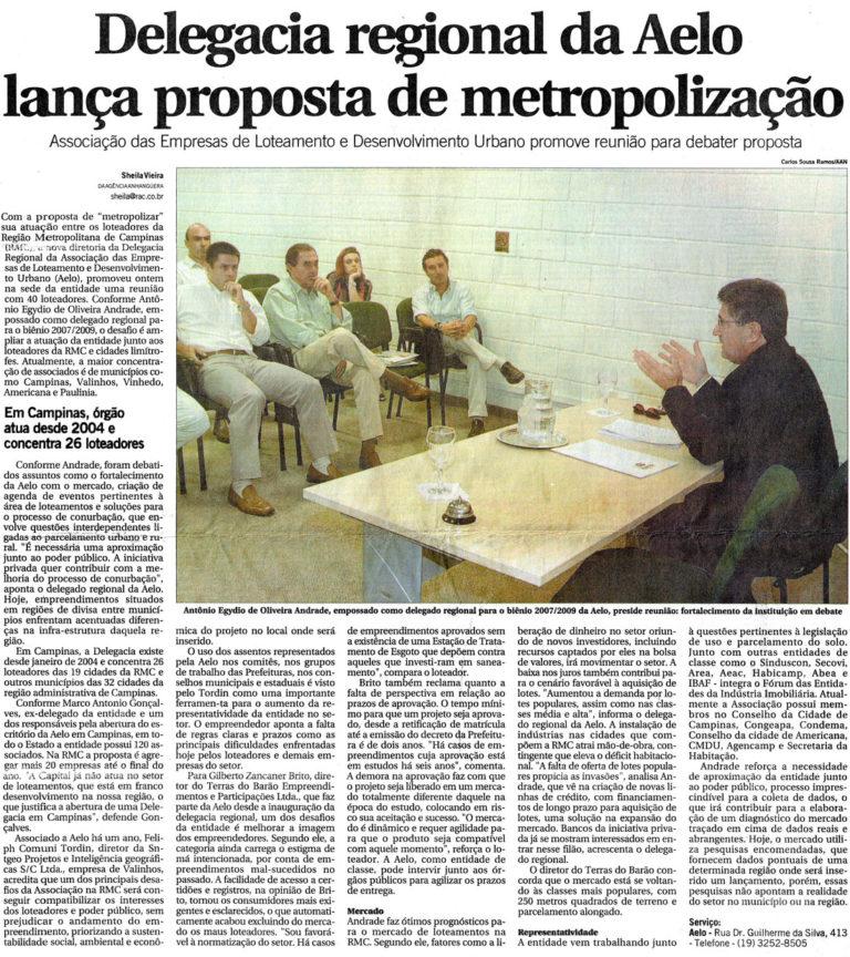 Delegacia regional da Aelo lança proposta de metropolização