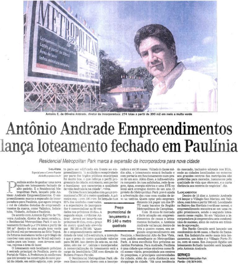 Antonio Andrade Empreendimentos lança loteamento fechado em Paulínia