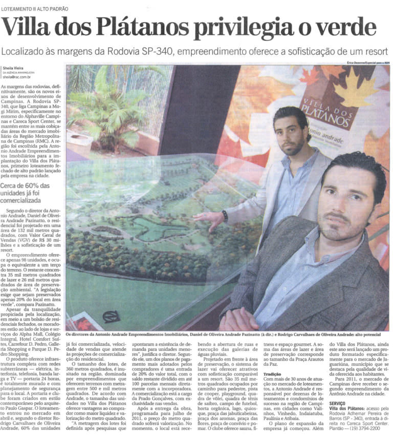 Villa dos Plátanos privilegia o verde